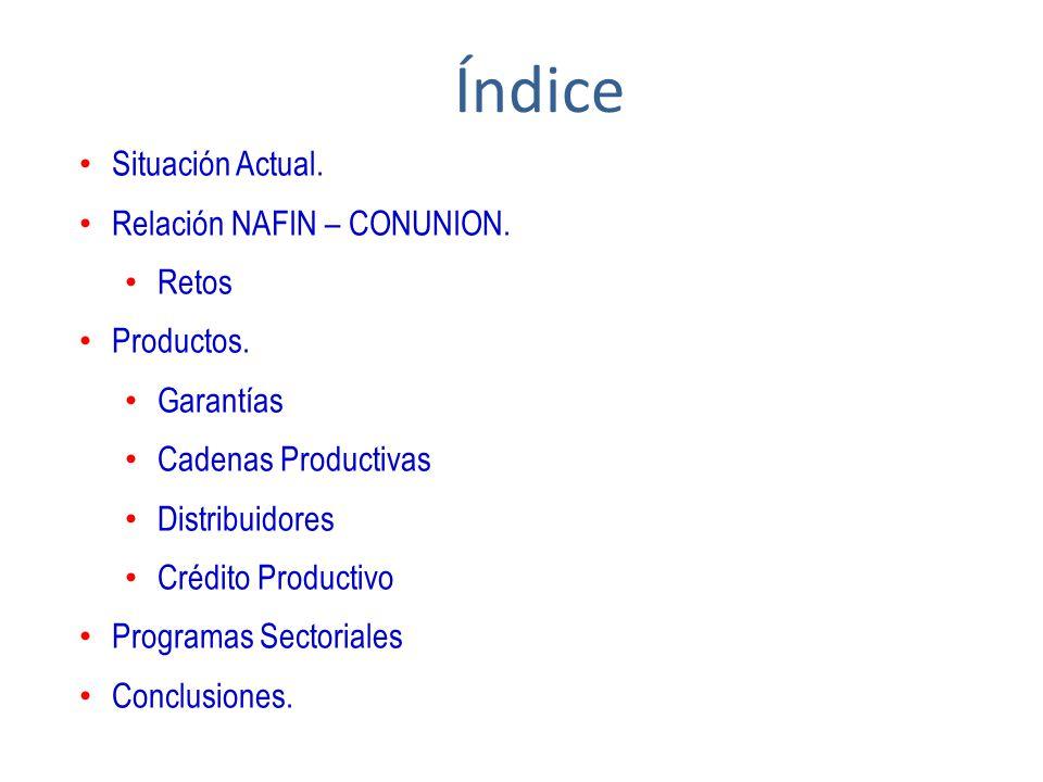 Índice Situación Actual. Relación NAFIN – CONUNION. Retos Productos.