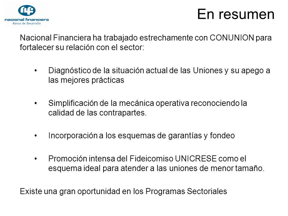 En resumen Nacional Financiera ha trabajado estrechamente con CONUNION para fortalecer su relación con el sector: