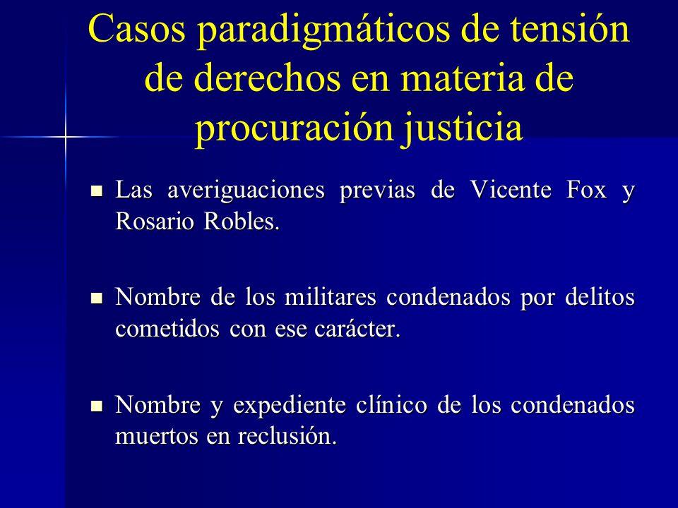 Casos paradigmáticos de tensión de derechos en materia de procuración justicia