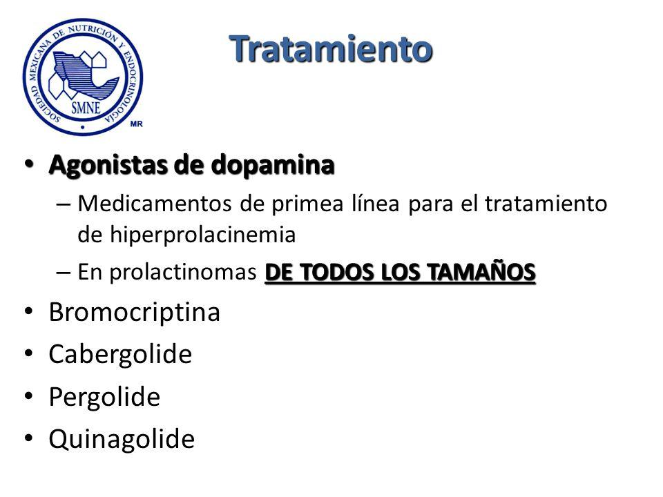 Tratamiento Agonistas de dopamina Bromocriptina Cabergolide Pergolide