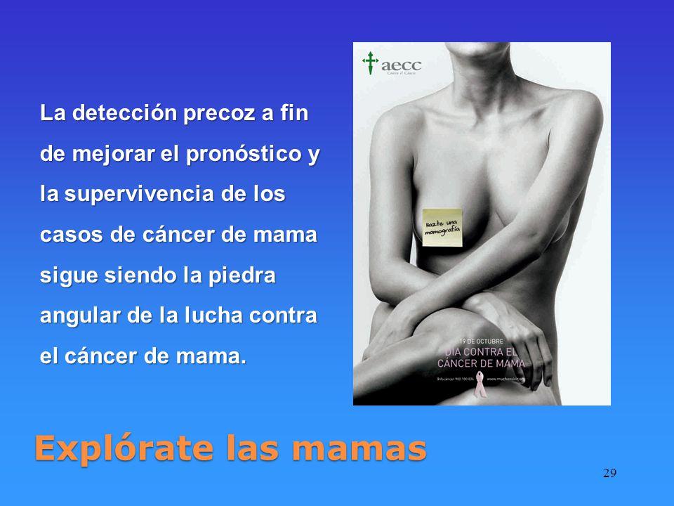 La detección precoz a fin de mejorar el pronóstico y la supervivencia de los casos de cáncer de mama sigue siendo la piedra angular de la lucha contra el cáncer de mama.