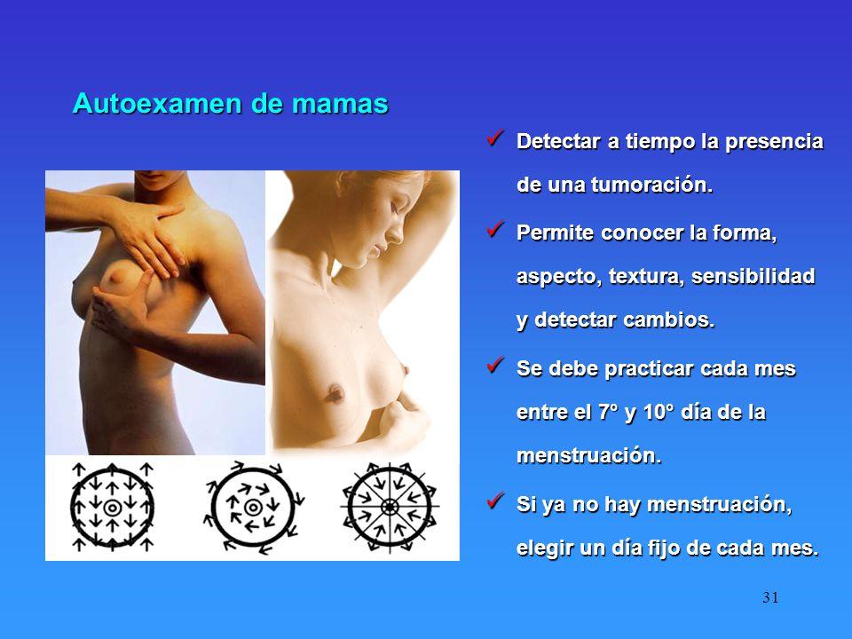 Autoexamen de mamas Detectar a tiempo la presencia de una tumoración.