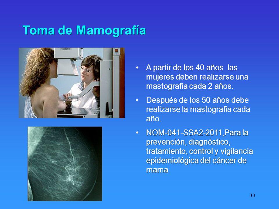Toma de Mamografía A partir de los 40 años las mujeres deben realizarse una mastografía cada 2 años.