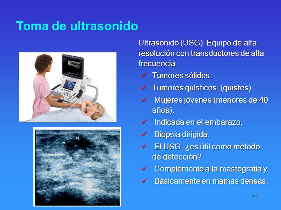 Toma de ultrasonido Ultrasonido (USG) Equipo de alta resolución con transductores de alta frecuencia.