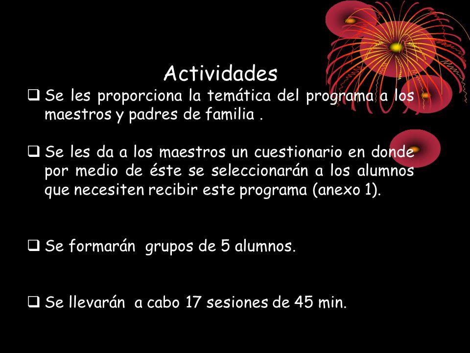 Actividades Se les proporciona la temática del programa a los maestros y padres de familia .