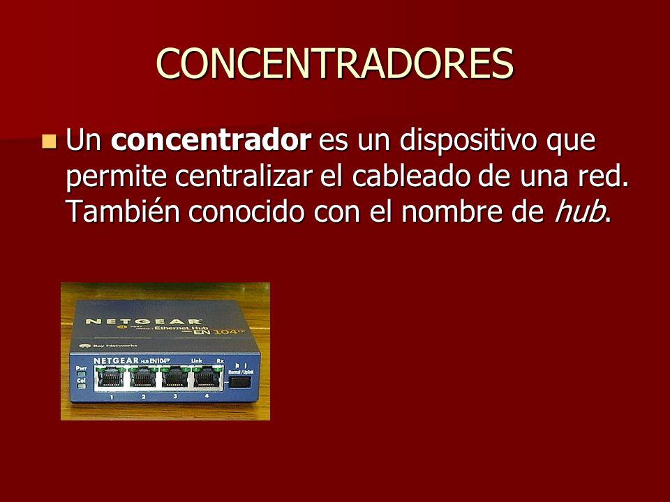 CONCENTRADORES Un concentrador es un dispositivo que permite centralizar el cableado de una red.