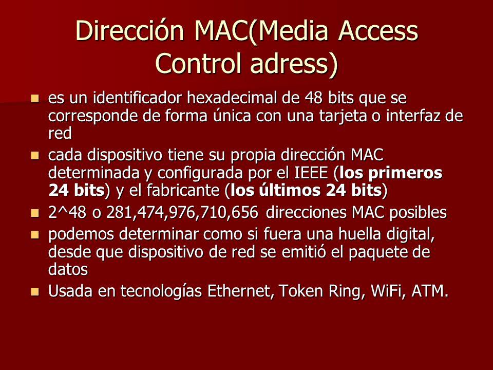 Dirección MAC(Media Access Control adress)