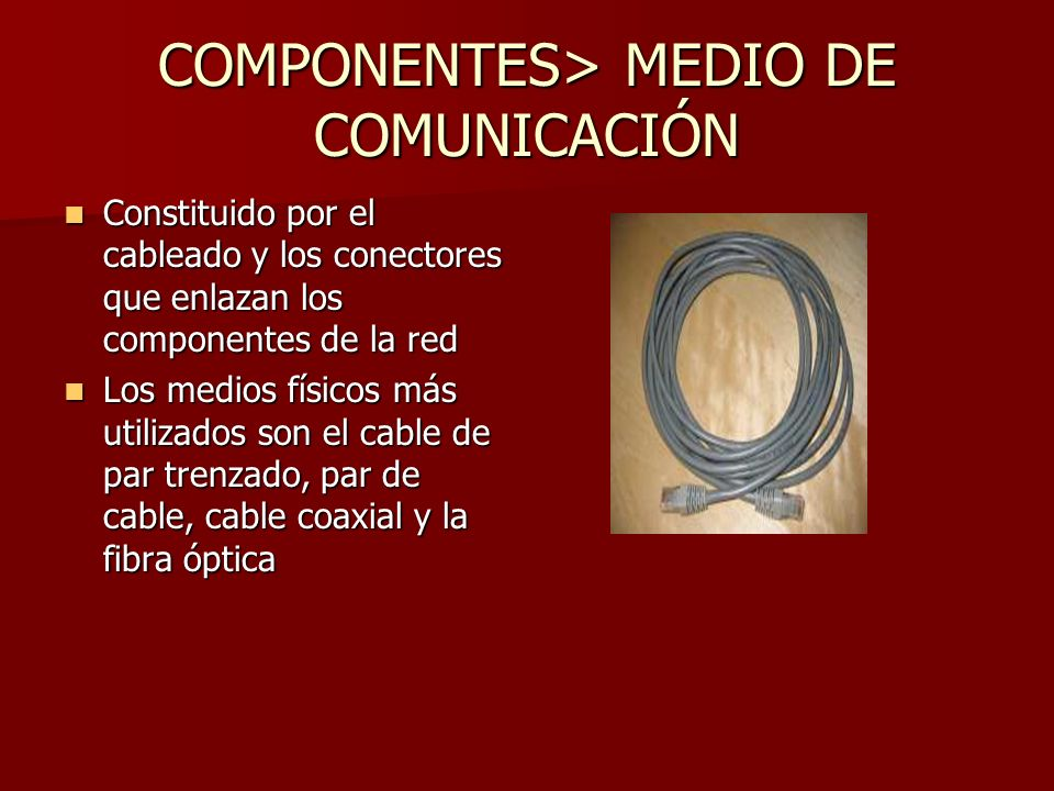 COMPONENTES> MEDIO DE COMUNICACIÓN