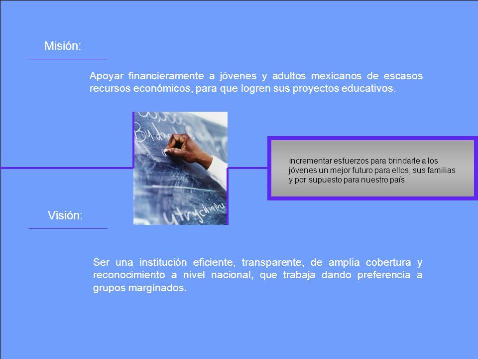 Misión: Apoyar financieramente a jóvenes y adultos mexicanos de escasos recursos económicos, para que logren sus proyectos educativos.