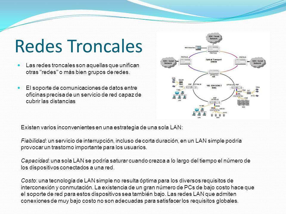 Redes Troncales Las redes troncales son aquellas que unifican otras redes o más bien grupos de redes.