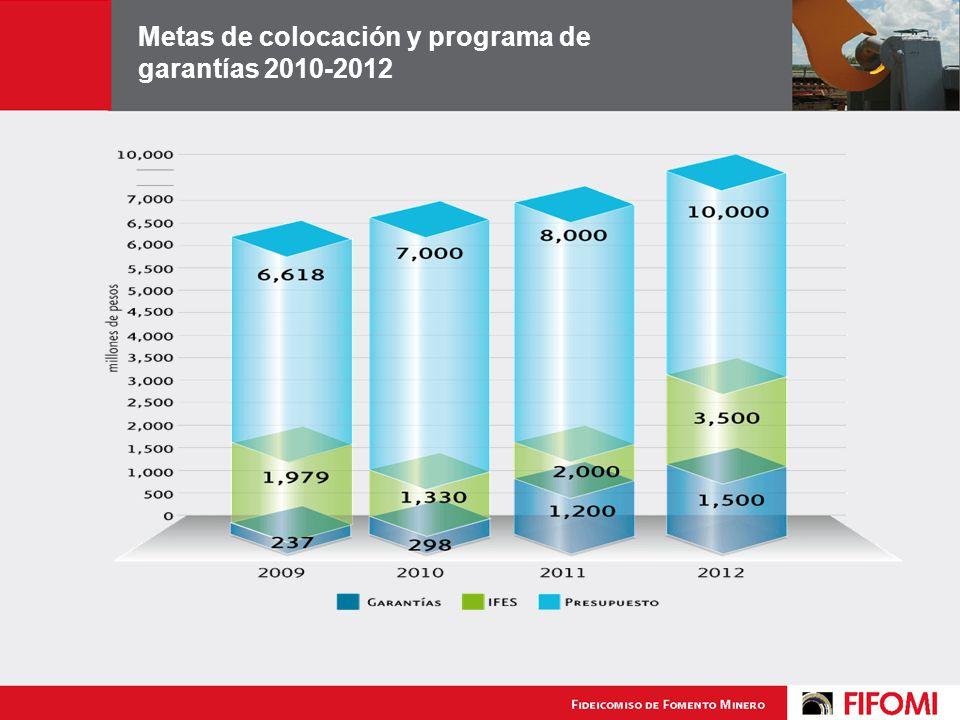 Metas de colocación y programa de garantías 2010-2012