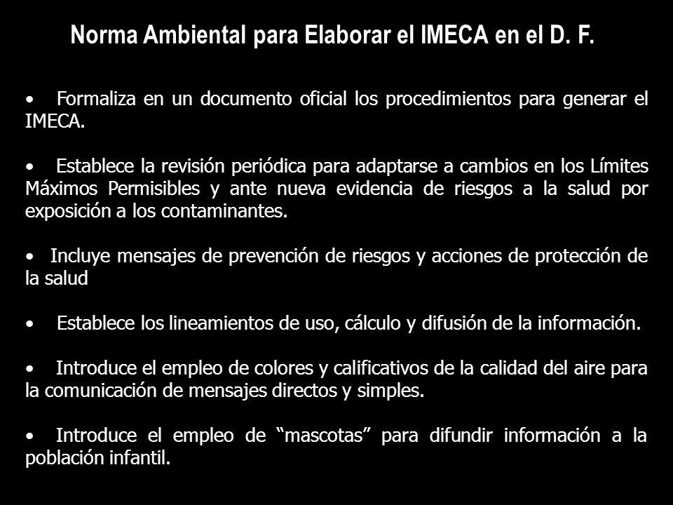 Norma Ambiental para Elaborar el IMECA en el D. F.