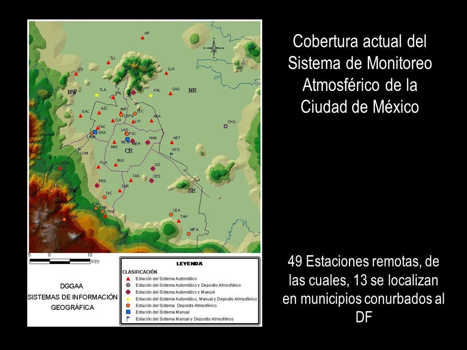Cobertura actual del Sistema de Monitoreo Atmosférico de la Ciudad de México