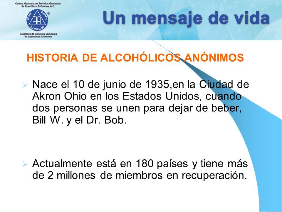 HISTORIA DE ALCOHÓLICOS ANÓNIMOS