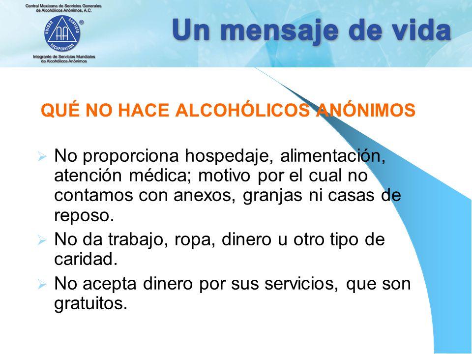 QUÉ NO HACE ALCOHÓLICOS ANÓNIMOS