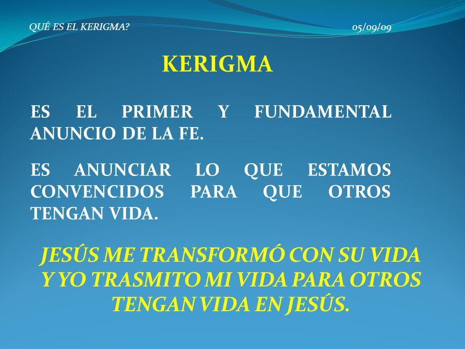 QUÉ ES EL KERIGMA 05/09/09 KERIGMA. ES EL PRIMER Y FUNDAMENTAL ANUNCIO DE LA FE.