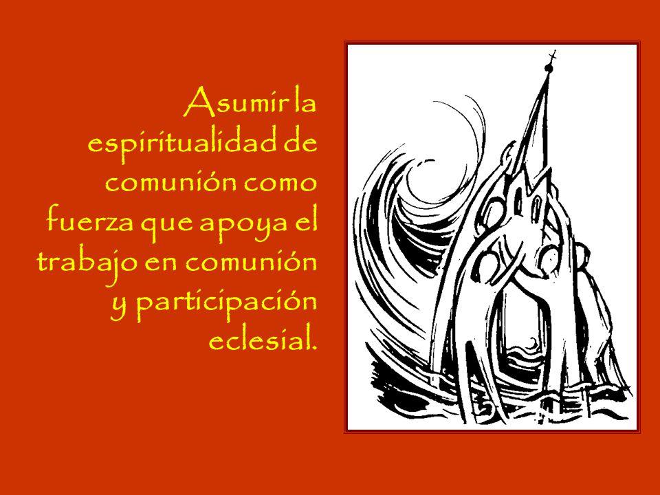 Asumir la espiritualidad de comunión como fuerza que apoya el trabajo en comunión y participación eclesial.