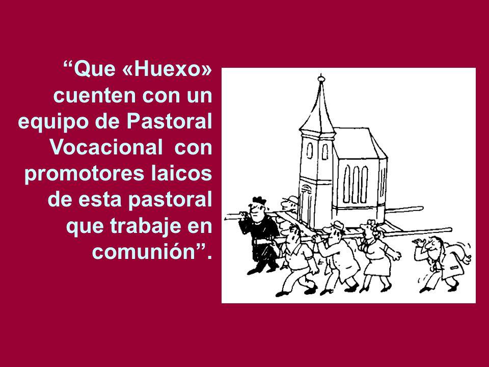 Que «Huexo» cuenten con un equipo de Pastoral Vocacional con promotores laicos de esta pastoral que trabaje en comunión .