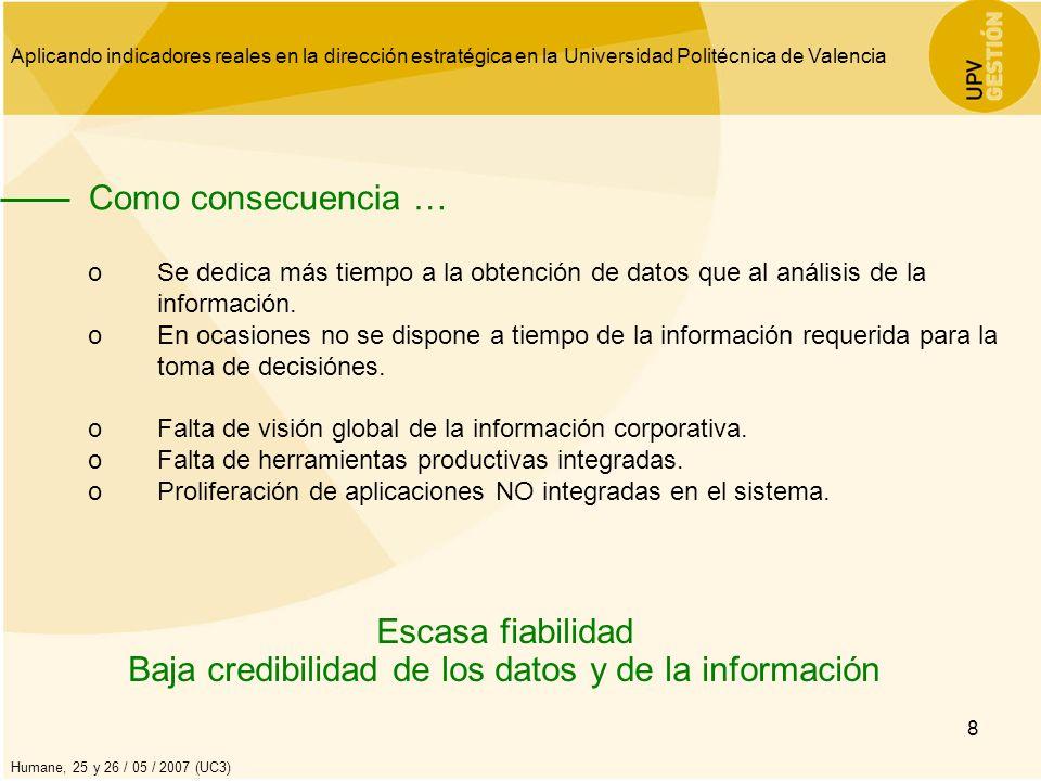 Baja credibilidad de los datos y de la información