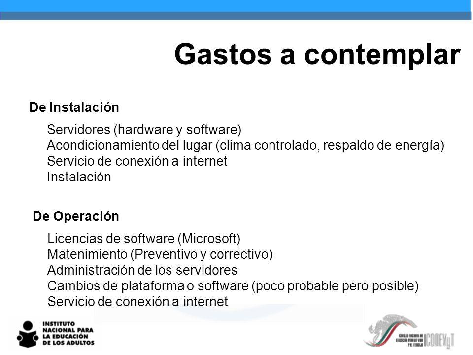 Gastos a contemplar De Instalación Servidores (hardware y software)