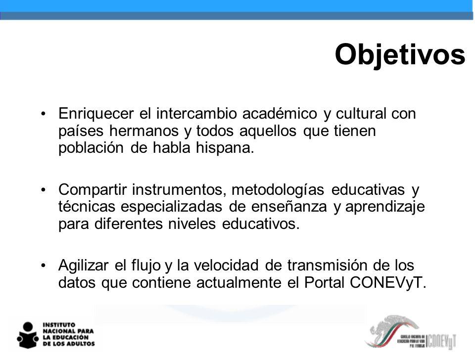 Objetivos Enriquecer el intercambio académico y cultural con países hermanos y todos aquellos que tienen población de habla hispana.