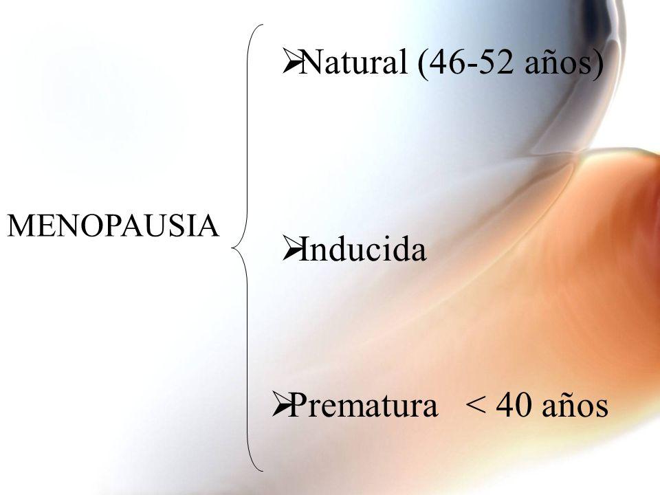 Natural (46-52 años) MENOPAUSIA Inducida Prematura < 40 años