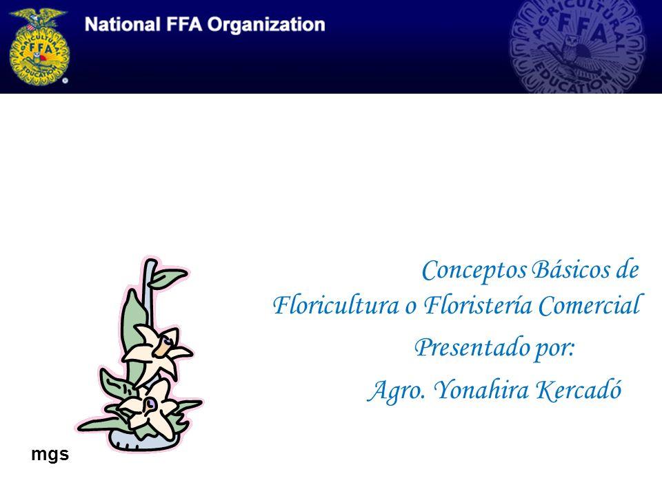 Conceptos Básicos de Floricultura o Floristería Comercial Presentado por: Agro. Yonahira Kercadó