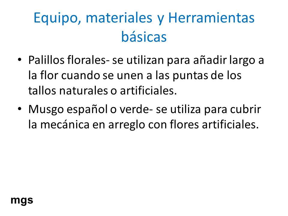 Equipo, materiales y Herramientas básicas