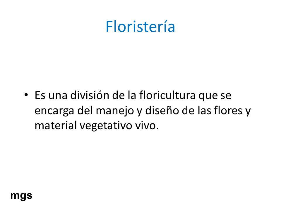 Floristería Es una división de la floricultura que se encarga del manejo y diseño de las flores y material vegetativo vivo.