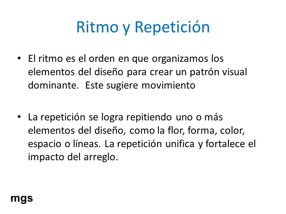 Ritmo y Repetición El ritmo es el orden en que organizamos los elementos del diseño para crear un patrón visual dominante. Este sugiere movimiento.