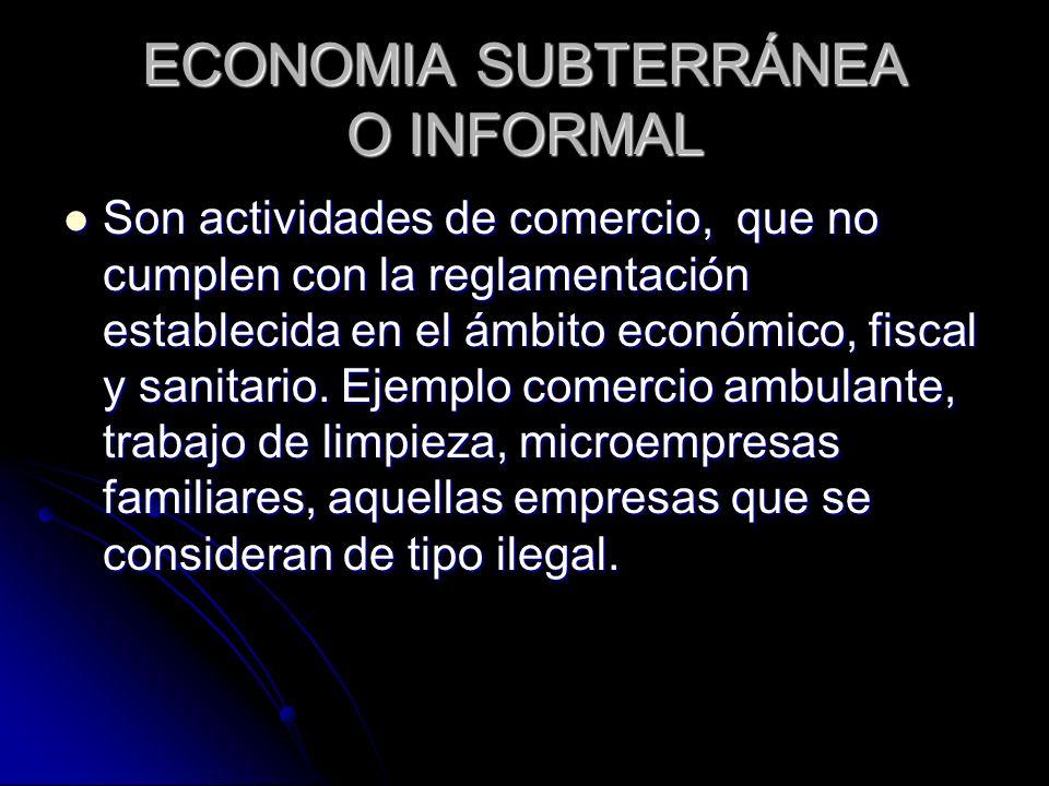 ECONOMIA SUBTERRÁNEA O INFORMAL