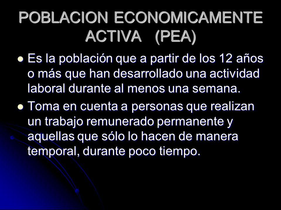 POBLACION ECONOMICAMENTE ACTIVA (PEA)