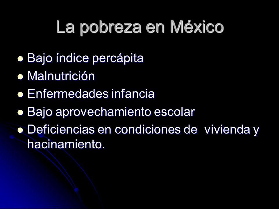 La pobreza en México Bajo índice percápita Malnutrición