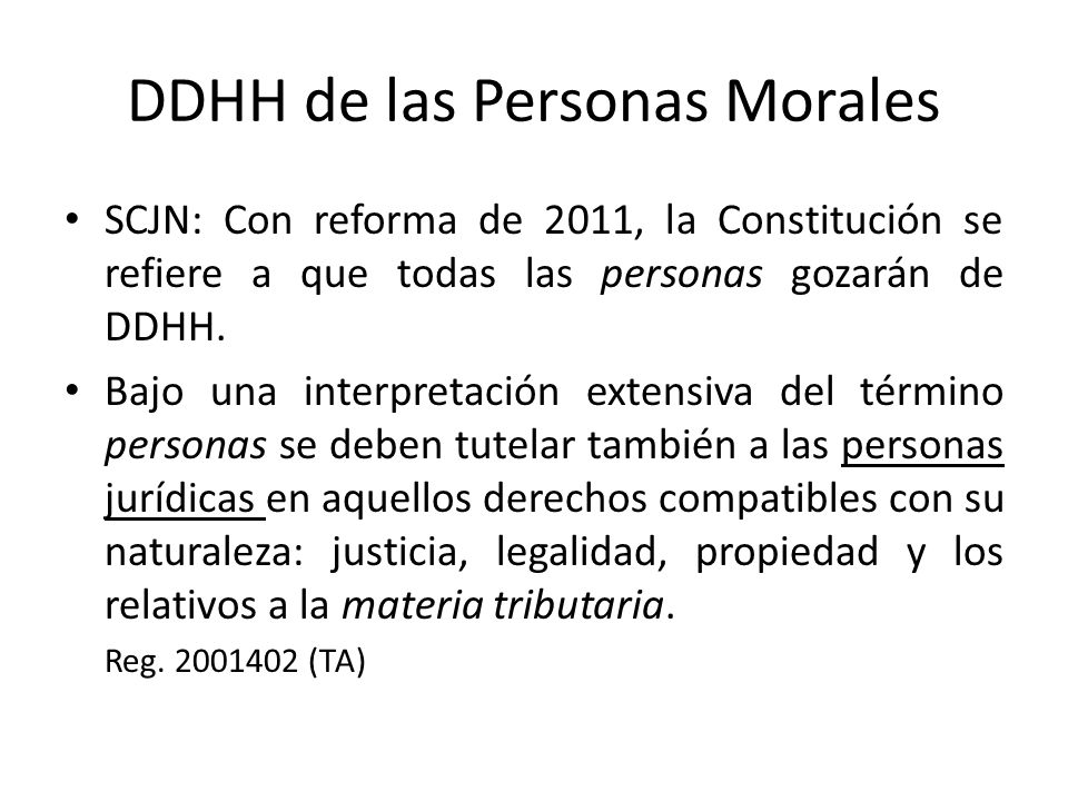 DDHH de las Personas Morales