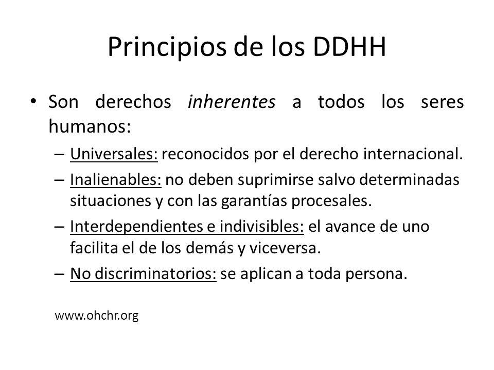 Principios de los DDHH Son derechos inherentes a todos los seres humanos: Universales: reconocidos por el derecho internacional.
