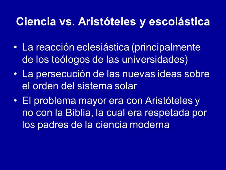Ciencia vs. Aristóteles y escolástica