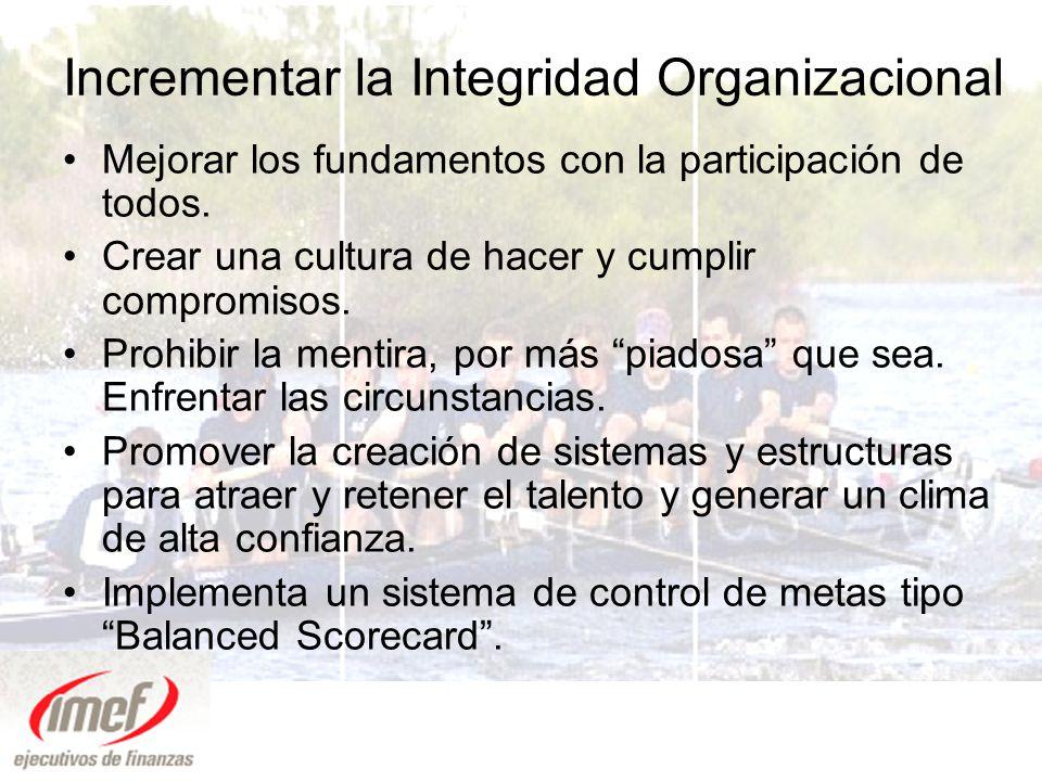 Incrementar la Integridad Organizacional