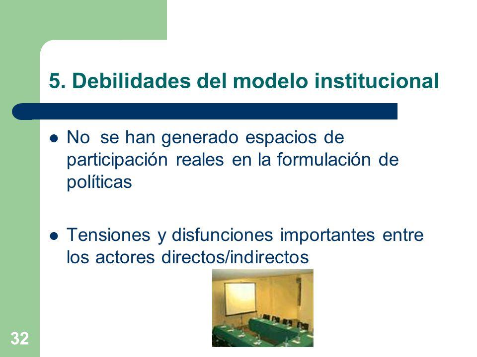 5. Debilidades del modelo institucional