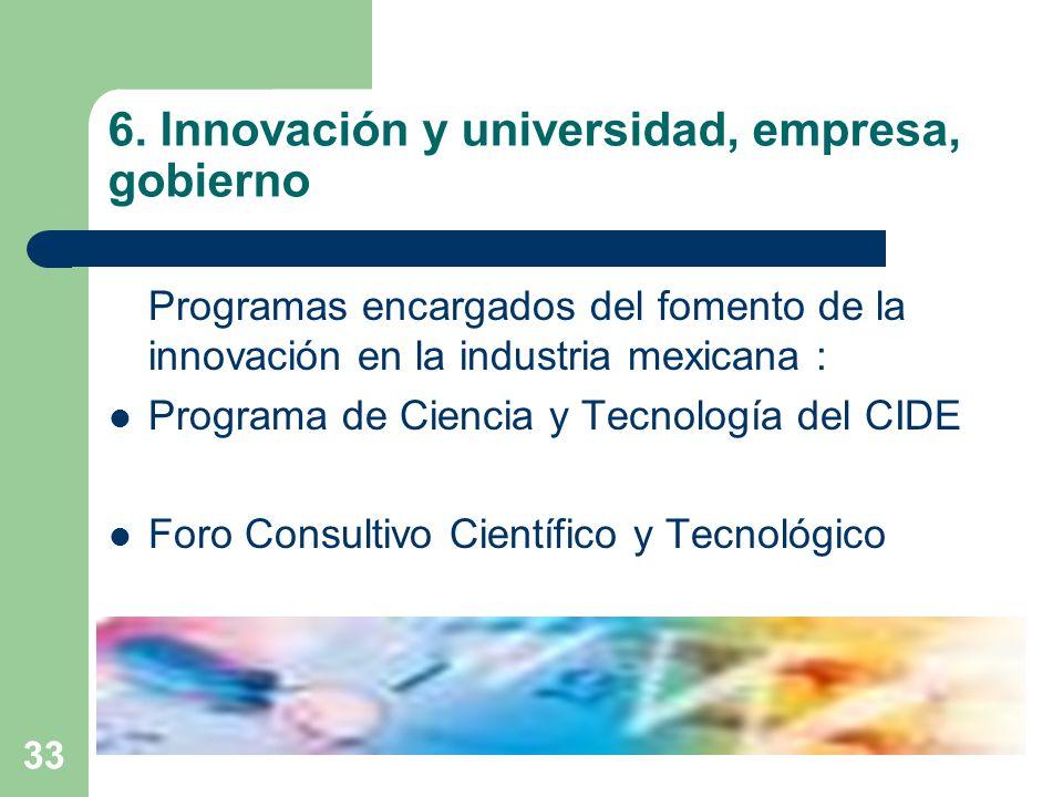 6. Innovación y universidad, empresa, gobierno