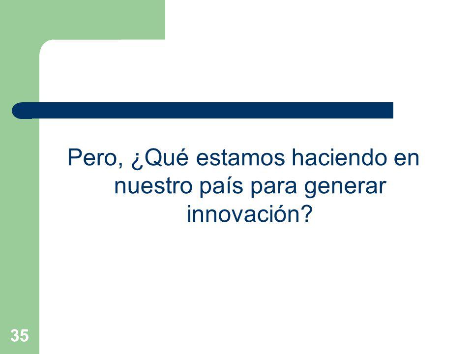 Pero, ¿Qué estamos haciendo en nuestro país para generar innovación