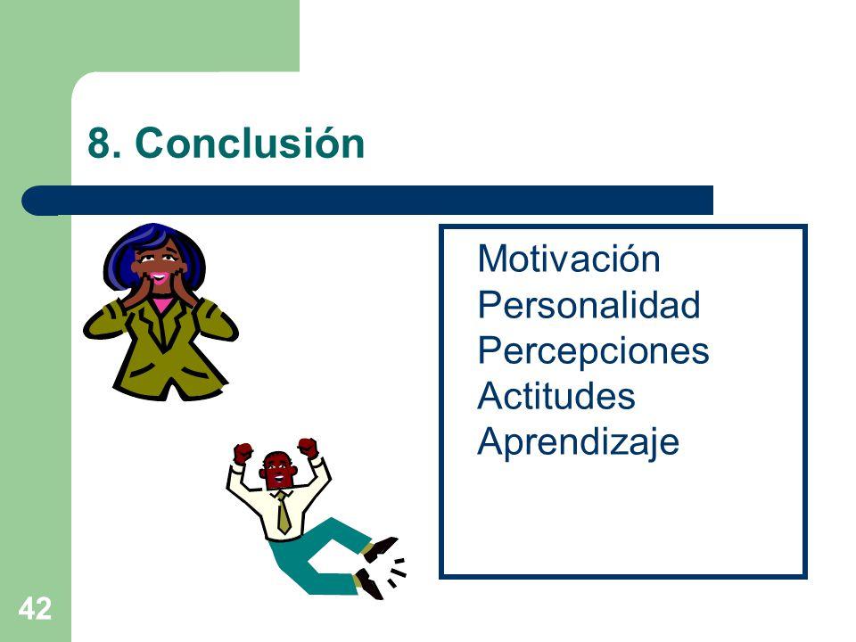 8. Conclusión Motivación Personalidad Percepciones Actitudes