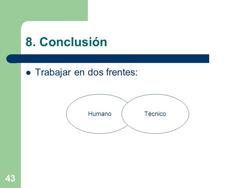 8. Conclusión Trabajar en dos frentes: Humano Técnico