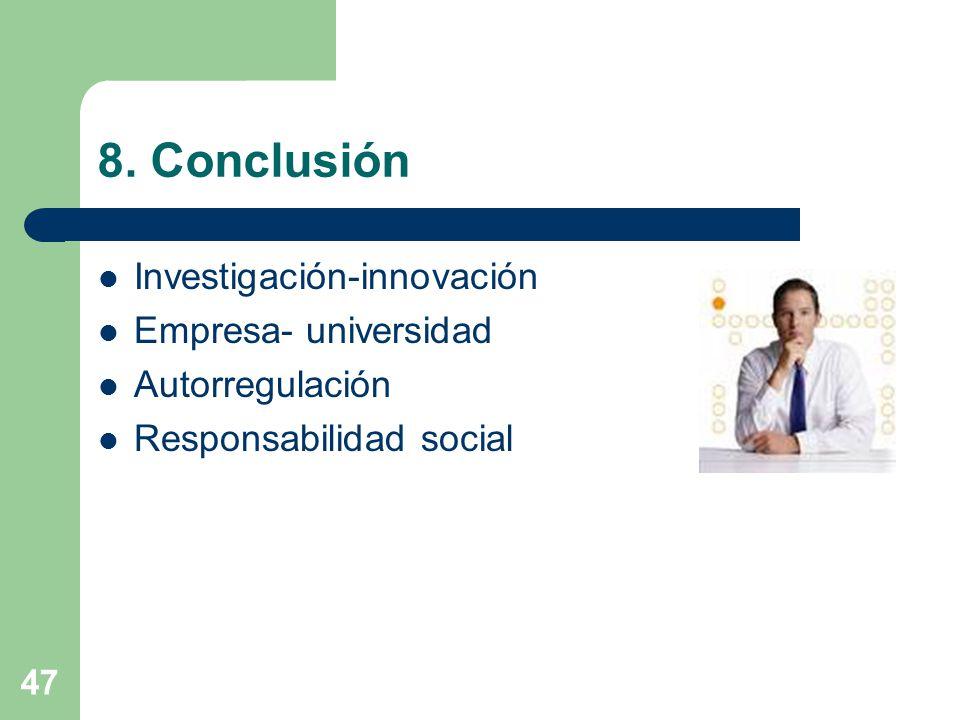 8. Conclusión Investigación-innovación Empresa- universidad