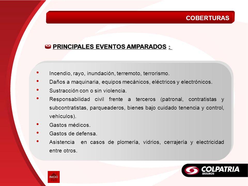 PRINCIPALES EVENTOS AMPARADOS :