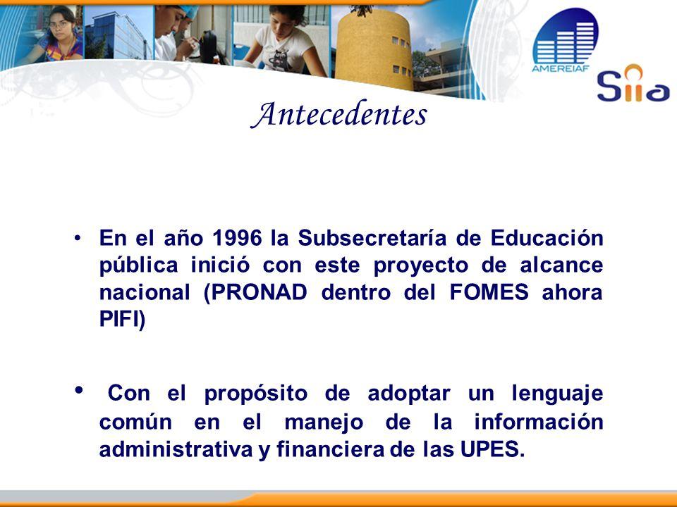 Antecedentes En el año 1996 la Subsecretaría de Educación pública inició con este proyecto de alcance nacional (PRONAD dentro del FOMES ahora PIFI)