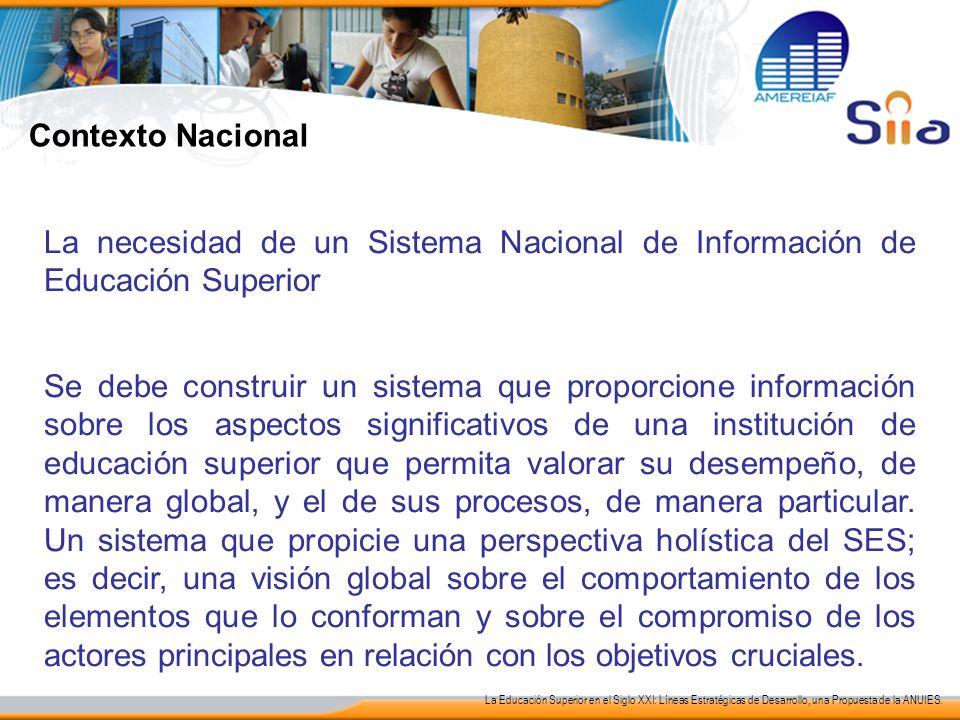 Contexto Nacional La necesidad de un Sistema Nacional de Información de Educación Superior.