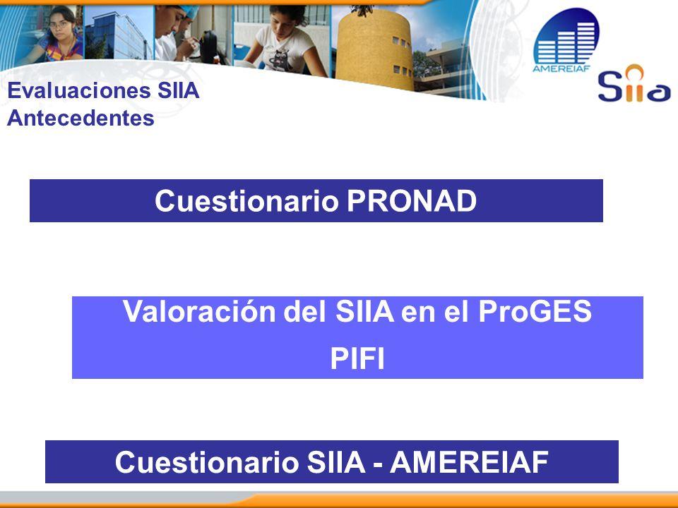 Valoración del SIIA en el ProGES Cuestionario SIIA - AMEREIAF