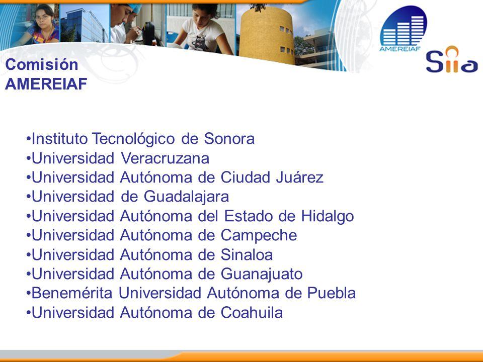 Comisión AMEREIAF. Instituto Tecnológico de Sonora. Universidad Veracruzana. Universidad Autónoma de Ciudad Juárez.