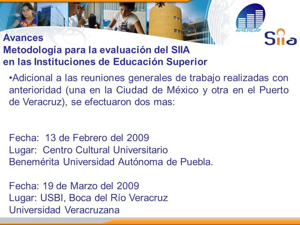 Avances Metodología para la evaluación del SIIA. en las Instituciones de Educación Superior.