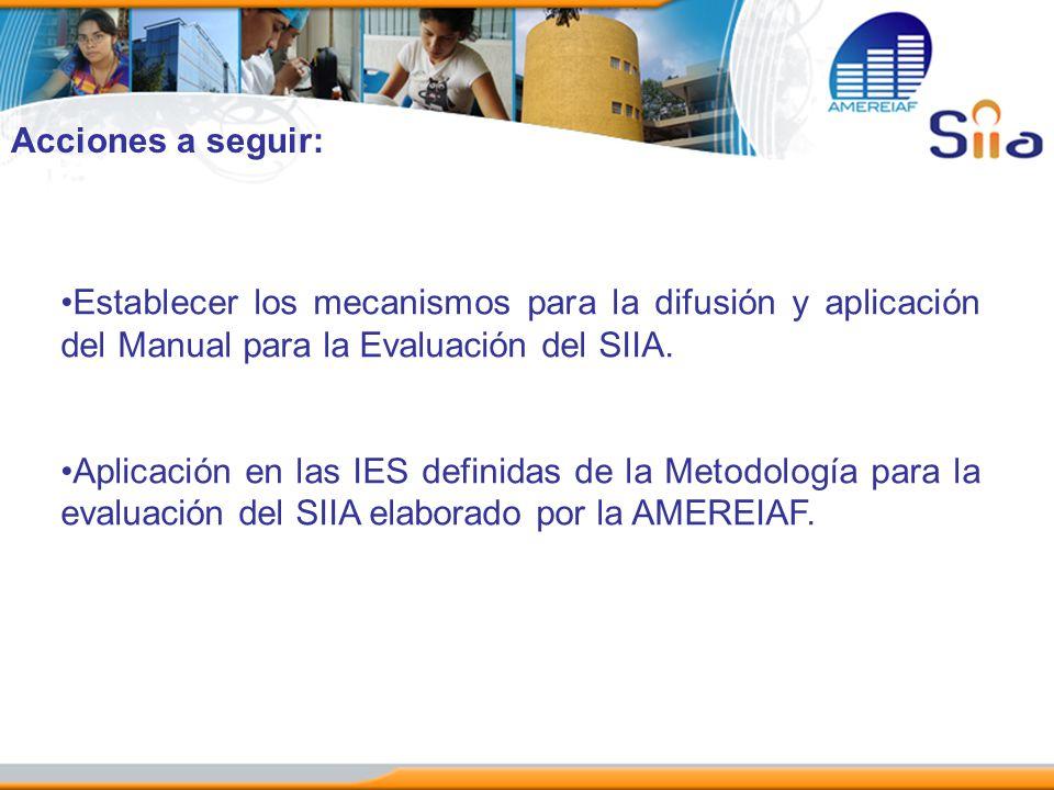 Acciones a seguir: Establecer los mecanismos para la difusión y aplicación del Manual para la Evaluación del SIIA.